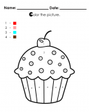 Color by Numbers with this cupcake coloring sheet