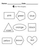Color in the Shapes - Preschool Worksheet