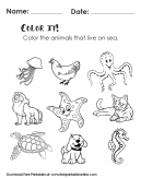 Color It Worksheet - Color the Animals That Live in the Sea