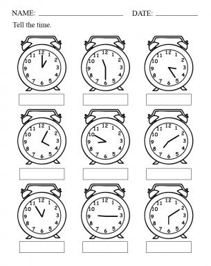 Time worksheet with alarm clocks
