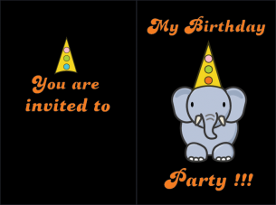 Elephant Party Birthday Invitation