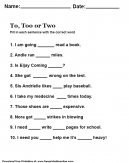 Learn the difference between to, too and two