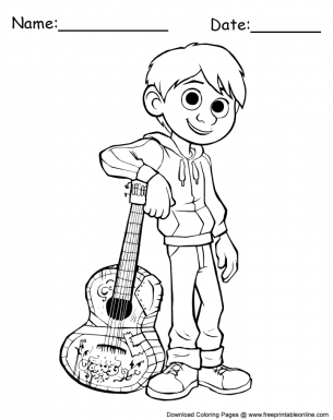 Miguel With Guitar Coloring Sheet