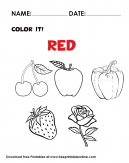 Color it Red the Objects in this Coloring Page