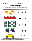 Learn to Count Worksheet? This Lets Count It - Free math worksheets. Count the objects below and choose the correct answer.