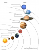 Name the Planets Infographic, with boxes to write the name of the planet as your answer