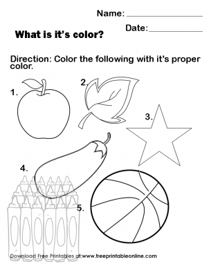 Colour the Pictures With the proper Colours - An apple, a leaf, a star, am egg plant a basketball