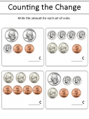 Counting the Change Worksheet - Write the amount of each set of coins.