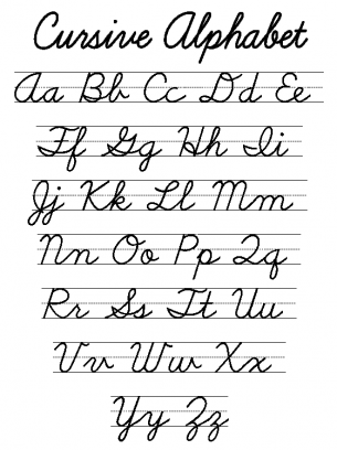 Revered image throughout free printable cursive alphabet
