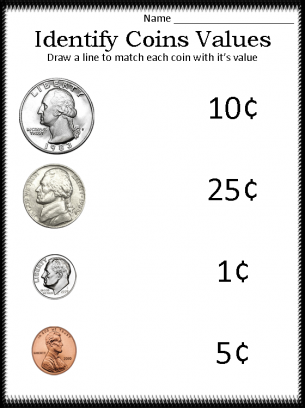 Printables Identifying Money Worksheets identify coins worksheet abitlikethis coin values