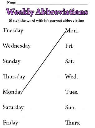Weekly Abbreviations Worksheet