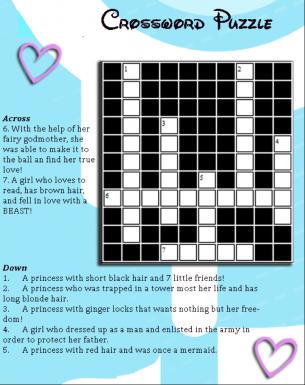 Disney Princess Crossword Puzzle