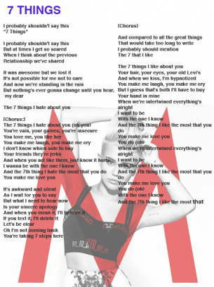 Miley Cyrus - 7 Things Lyrics | MetroLyrics