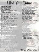 The Wanted Glad You Came Lyrics Sheet