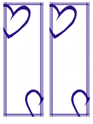 blue heart design bookmark