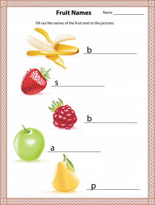Name the Fruits Worksheet