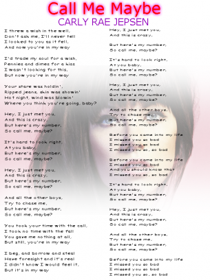 Call Me Maybe song sheet