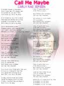Carly Rae Jepson Call Me Maybe Lyrics Sheet