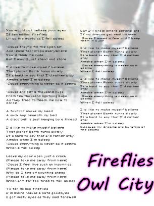 lyrics for fireflies