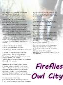 Owl City Fireflies Lyrics Sheet