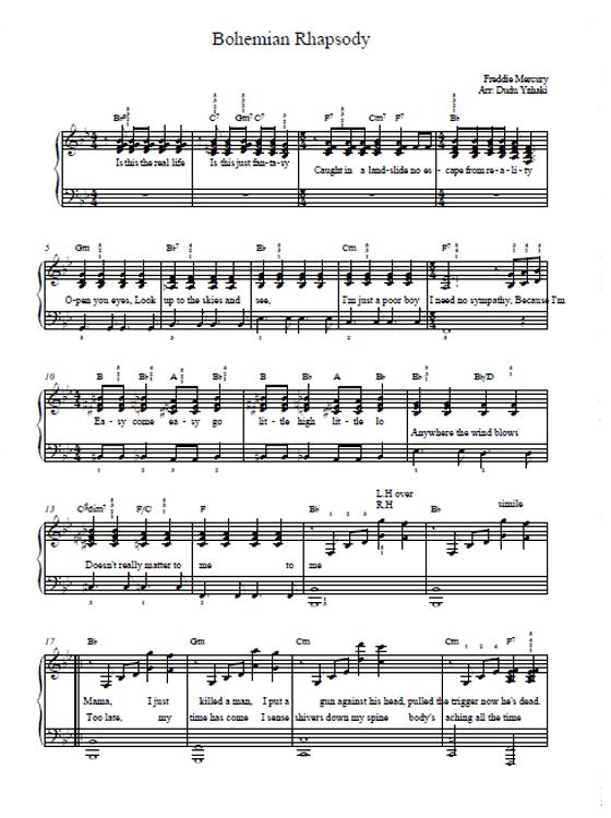 Bohemian Rhapsody Sheet