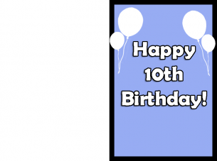 Balloon 10th Birthday Cards