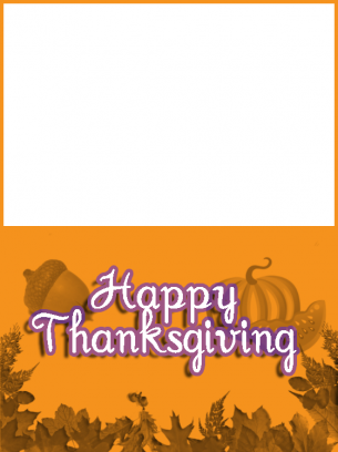 image regarding Printable Thanksgiving Cards identified as Orange Thanksgiving Card
