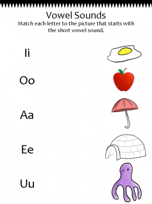 Match The Vowel Sound Worksheet S