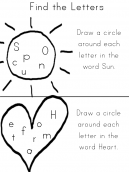 Find Letters Sun and Heart Worksheets