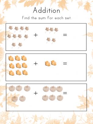 math worksheet : thanksgiving addition worksheet kindergarten : Thanksgiving Addition Worksheet
