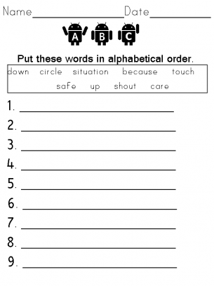 Word order work sheet