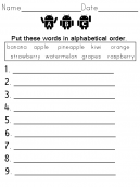 Vocabulary Quiz Fruit Names Worksheet