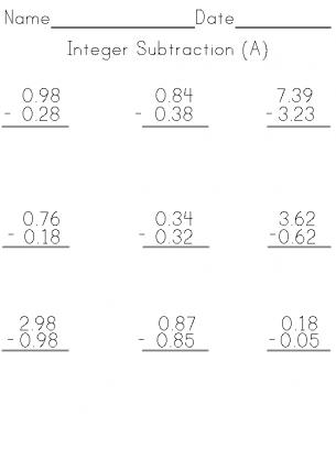 Integer Subtraction Worksheet