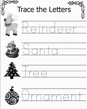 Trace the Christmas Letters Worksheets