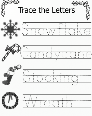 Trace the Letters Christmas Worksheets 2