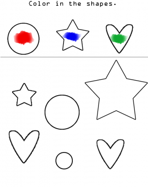 coloring shapes preschool worksheet - Preschool Color Worksheets Free