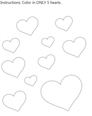 hearts color in worksheet - Color In Worksheets