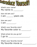 Introduce Yourself Worksheets