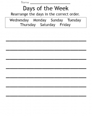 photo regarding Free Printable Days of the Week Worksheets called Times of the 7 days Worksheet