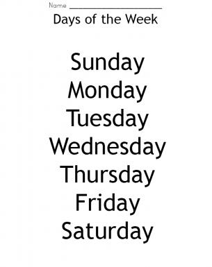 Number Names Worksheets days of the week printable : Week Days Worksheet