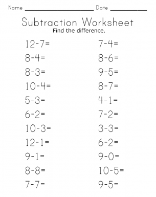 subtraction worksheet. Black Bedroom Furniture Sets. Home Design Ideas