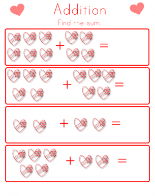 Number Names Worksheets valentines math worksheet : Addition Worksheets for Valentine's Day