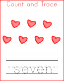 Valentine's Worksheets Trace Seven