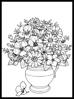 pots coloring pages | Flower Pot Coloring Pages