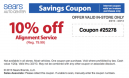 Sears 10 Percent Off Alignment Coupons