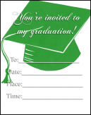 Green Cap Graduation Invitations
