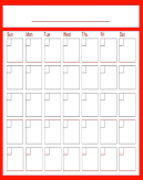 Red Monthly Blank Calendars