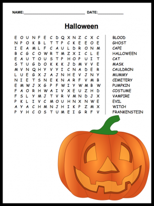 Easy Halloween Word Search Printable Images & Pictures - Becuo