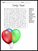 Party Time Word Search Puzzle