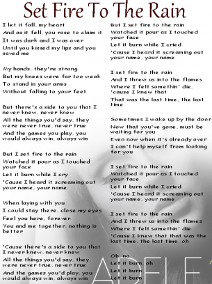 Adele Set fire to the rain lyrics